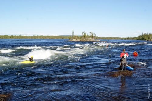 Pite älv, Piteälven - порог, вал для катания, озеро за порогом
