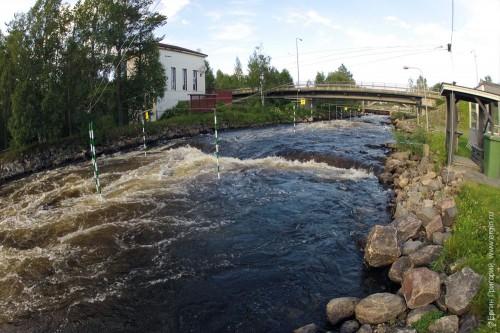 Средний участок слаломной трассы в Тайвалкоски - за автомобильным мостом