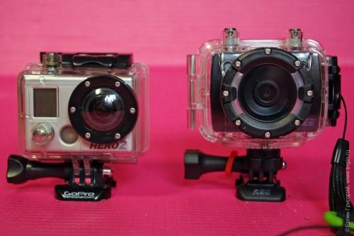 AEE Blackeye XTR 2 (AEE Magicam SD21) и GoPro Hero 2 в водозащитных боксах