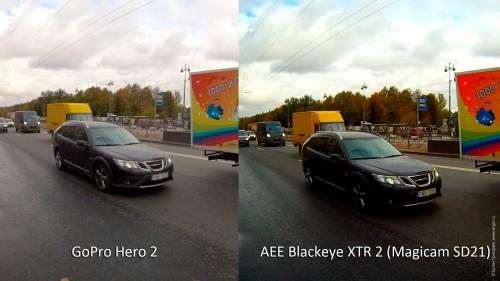 AEE Blackeye XTR 2 (AEE Magicam SD21) vs GoPro Hero 2: возможность прочесть днем номер машины
