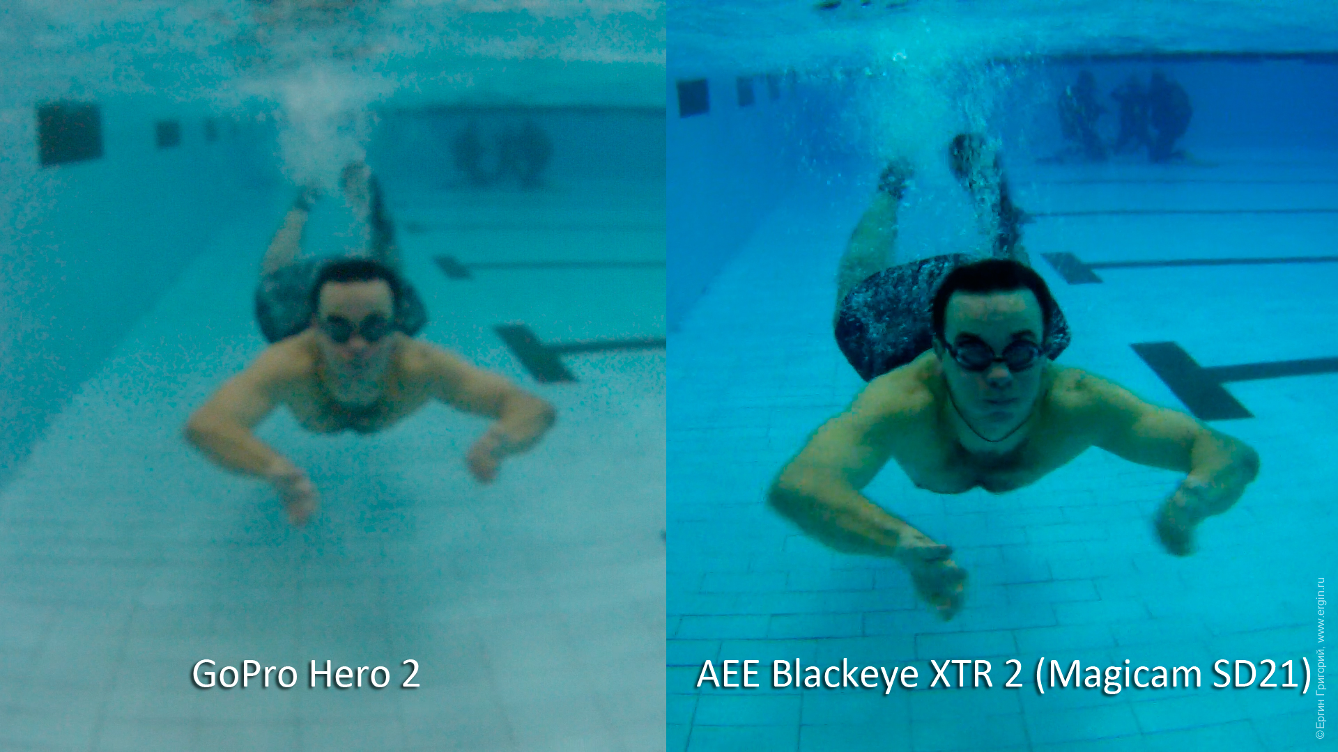 AEE Blackeye XTR 2 (AEE Magicam SD21) против GoPro Hero 2: съемка под водой