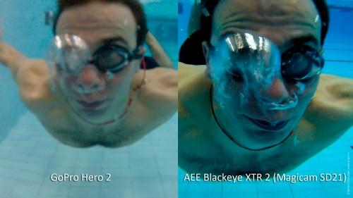 AEE Blackeye XTR 2 (AEE Magicam SD21) против GoPro Hero 2: съемка под водой вплотную