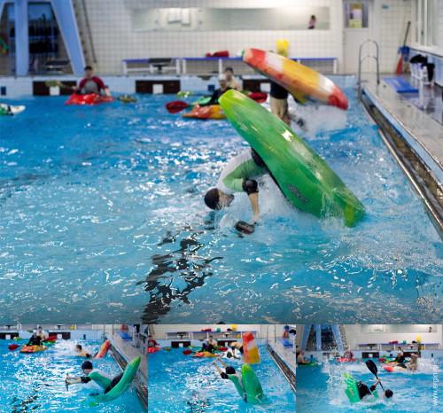 Акробатический фристайл на гладкой воде родео каяк бассейн