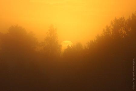 Туманный рассвет по пути в Лиексу