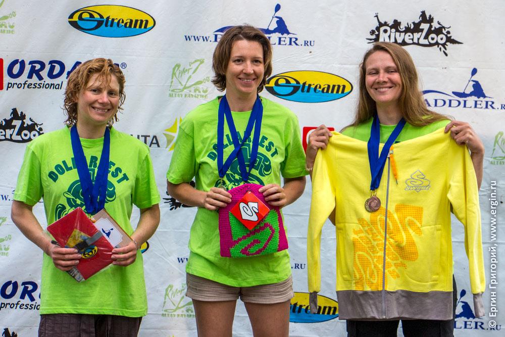 Победители соревнований по фристайлу на каяках на Алтае Катуни Доллар фест