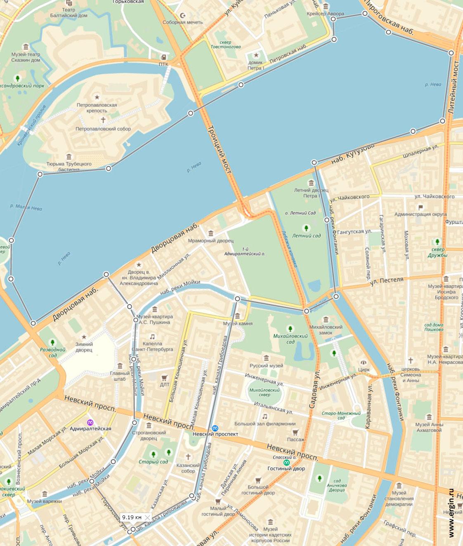 Карта прогулки по Неве на каяках и байдарках
