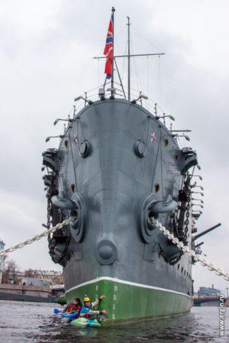 Нос крейсера Аврора с воды