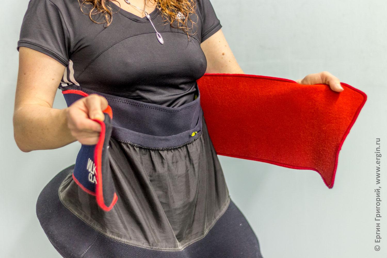 Для герметичности каячной юбки рекомендуется использовать на занятиях в бассейне неопреновый пояс для похудания
