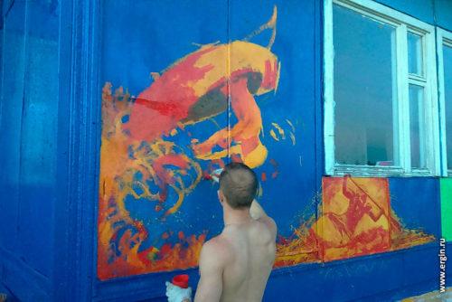 Графитти на стене Костромской школы каякинга