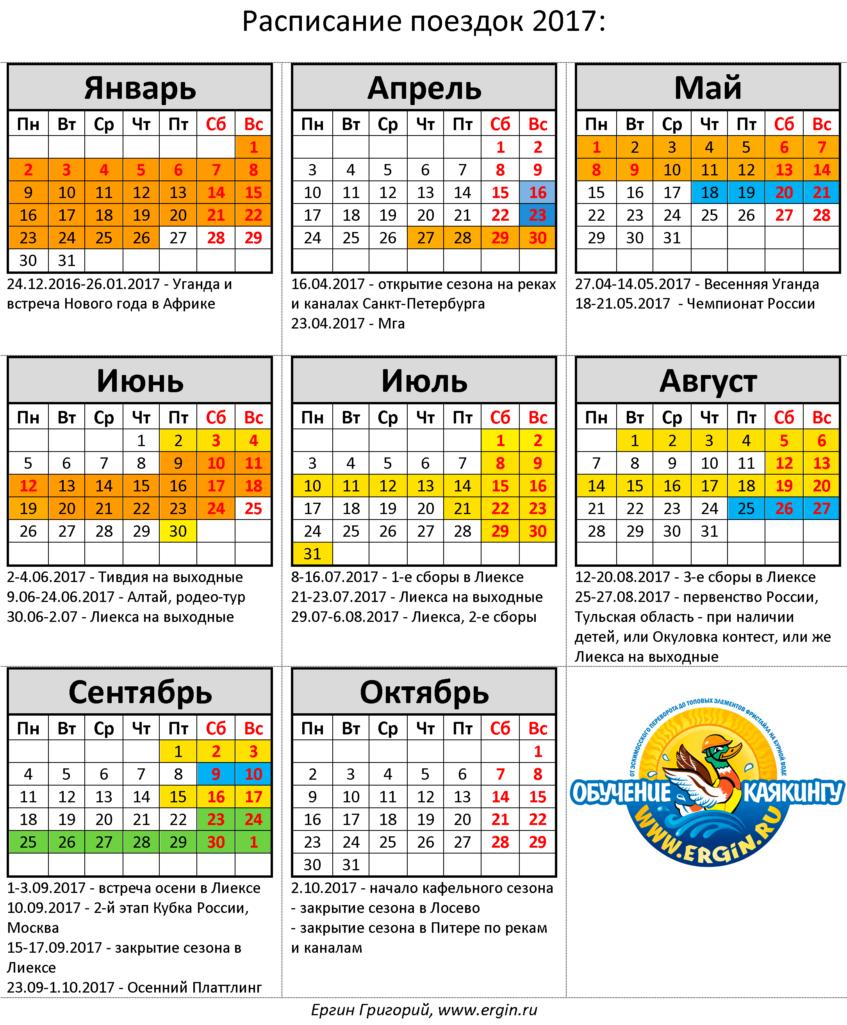 Поездки связанные с каякингом, обучением, тренировками по фристайлу на бурной воде и эскимосскому перевороту