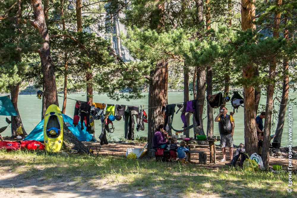Плейспот Бийка и лагерь каякеров в сосновом лесу Алтай Катунь
