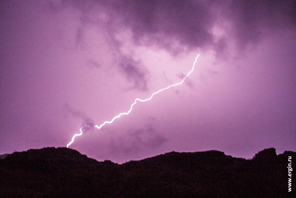 Красивая гроза на Алтае с молниями