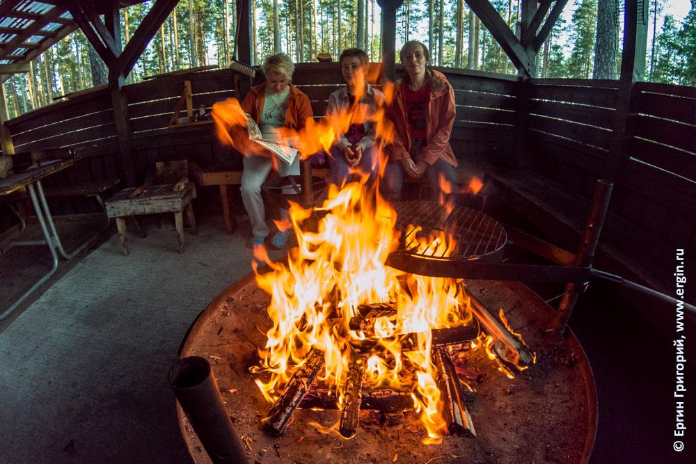 Лиекса Нейтикоски девушки у огня в беседке читают газету