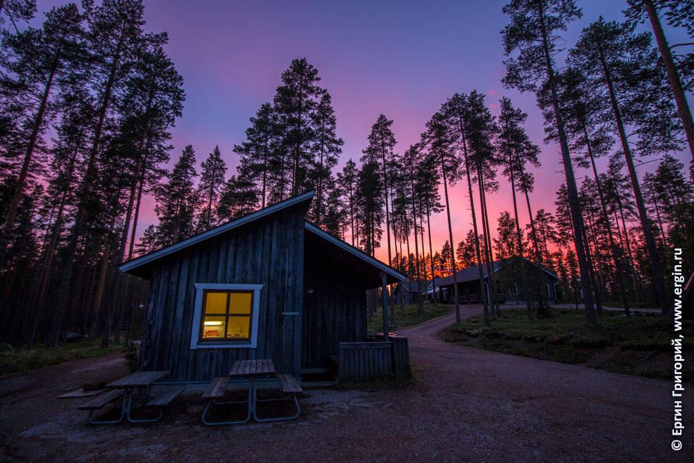 Волшебный фиолетовый закат в Лиексе кемпинге Нейтикоски