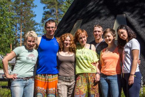 Участники межрегиональных сборов по фристайлу на бурной воде (фристайл-каякингу, родео) в Лиексе Нейтикоски