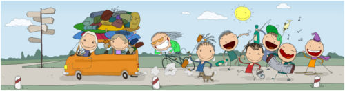 Каякеры едут на микроавтобусе родеобасе