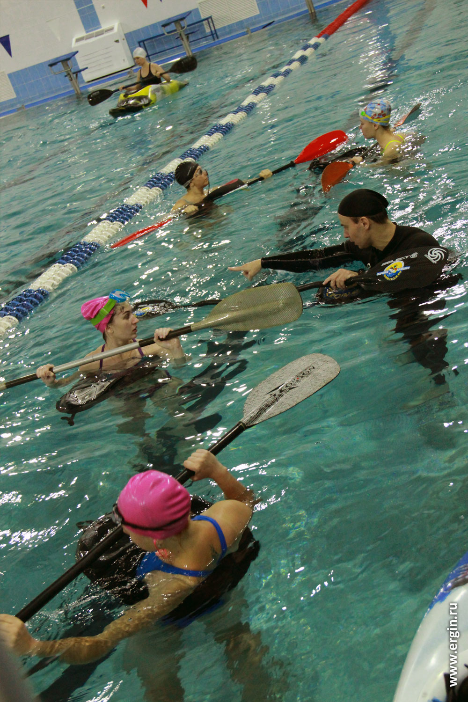 Упражнения каякеров с веслами без каяков эскимосский переворот опоры