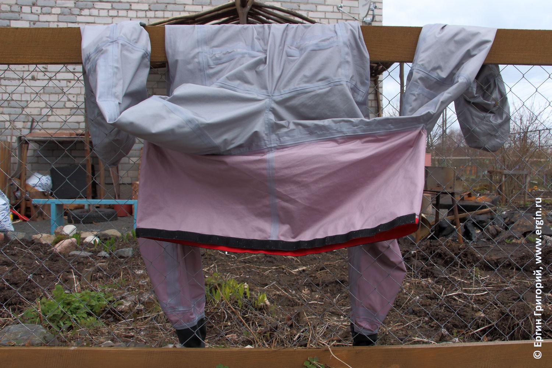 Сухой костюм каякера изнутри проклейка швов лентами