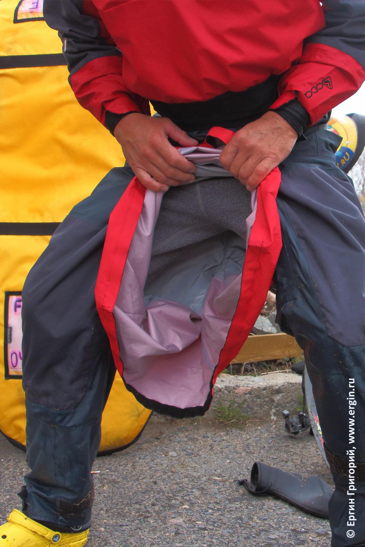 Вход в сухой костюм каякера герметичная горловина