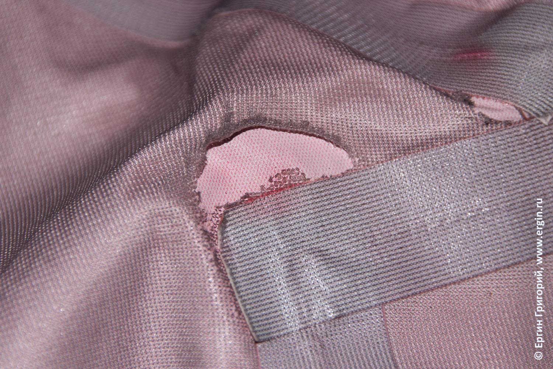 Повреждение мембранной ткани при проклейке проварке швов термолентой