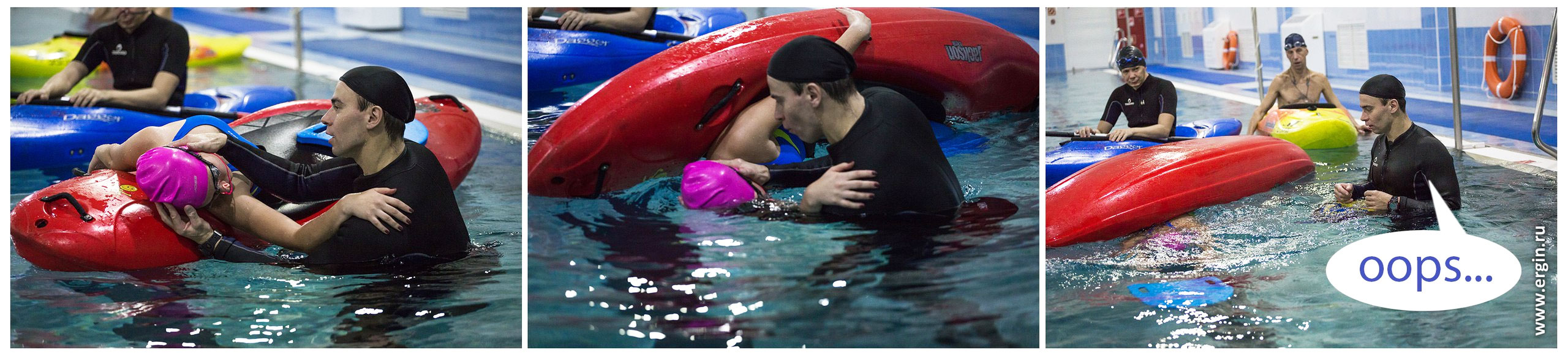 Неудачный эскимосский переворот на каяке в бассейне