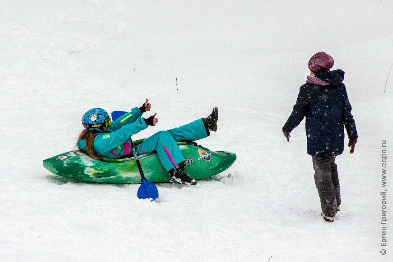 Зимний каякинг в снегу фан нереальный