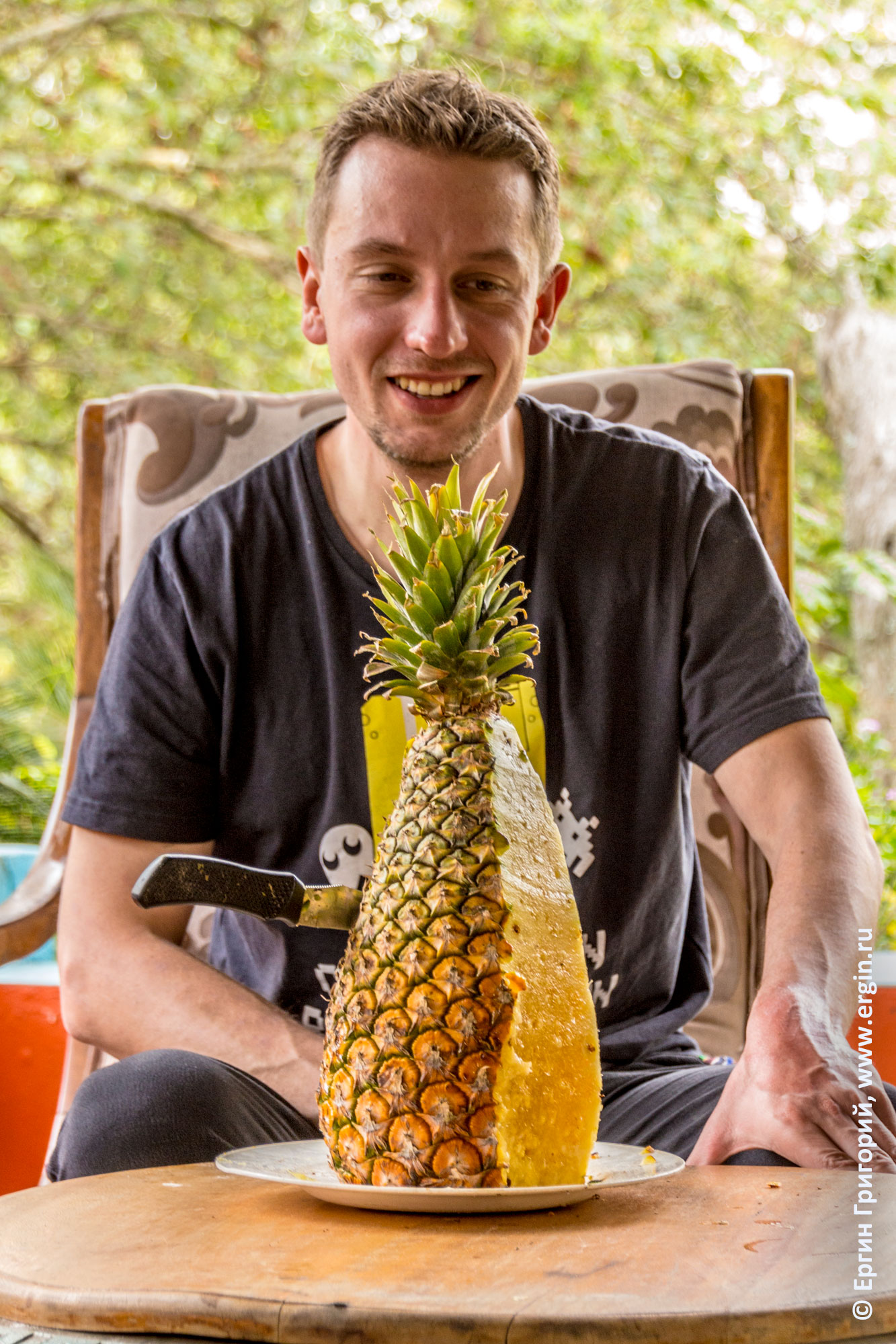 Большой порезанный Угандийский ананас