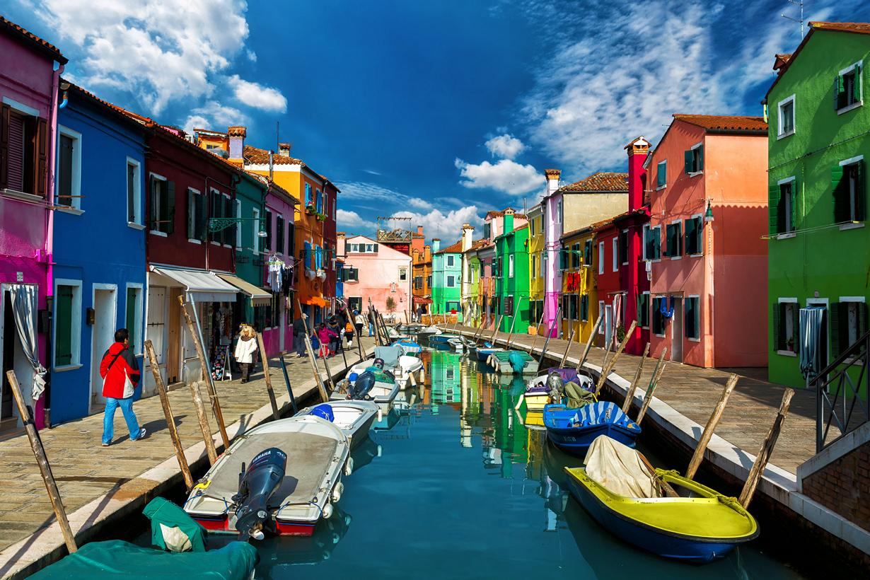 Бурано остров дома разноцветные часть Венеции