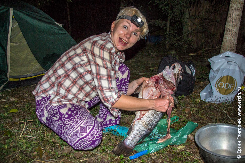Патологоанатом из Перми в африканской ночи препарирует четырехкилограмового Нильского окуня