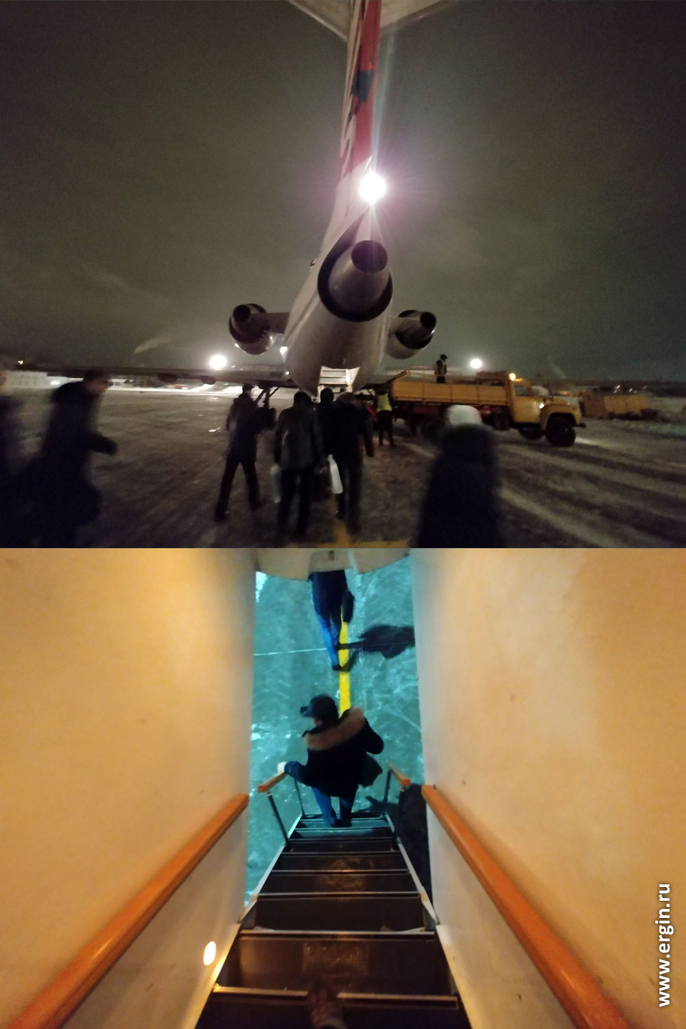 Вход в самолет Як-42 трап в хвостовой части