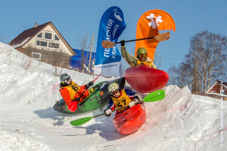 Соревнования по сноукаякингу