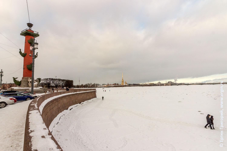 Зима Стрелка Васильевского острова в снегу