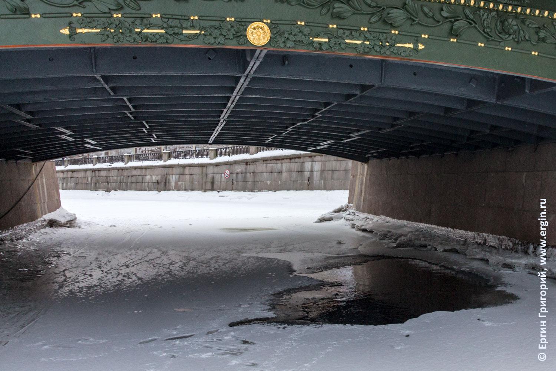 Открытая вода полынья во льду под Театральным мостом в Санкт-Петеребурге
