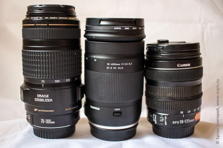 Canon и Tamron сравнение размеров объективов