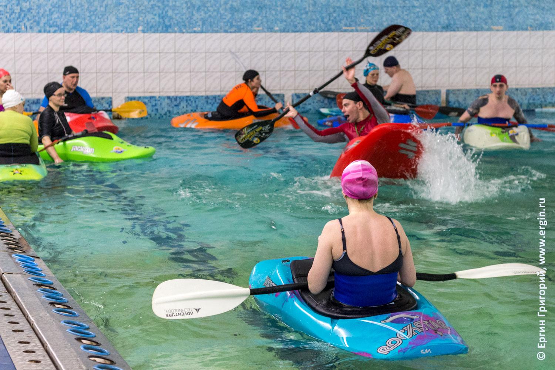 Родео на каяке фристайл на бурной воде обучение в бассейне