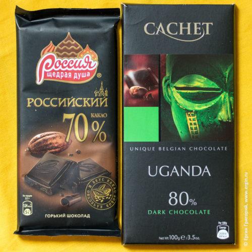 Россия и Уганда горче шоколад темнее