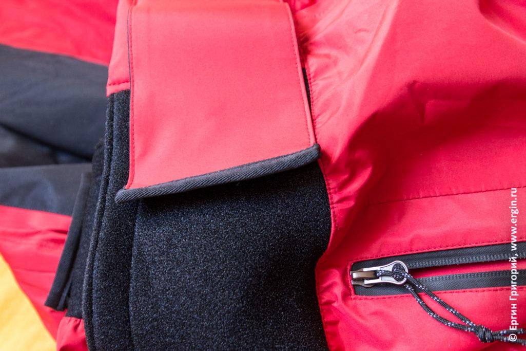 Крепление юбки на поясе сухого костюма для каякера из России бренд Вода Vodagear