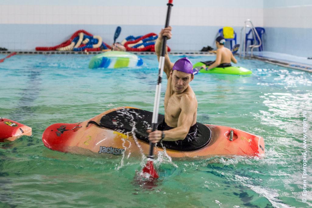 Обучение гребле на каяке подтяг веслом