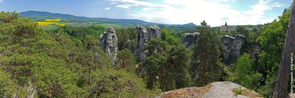Панорама заповедника в Чехии Чешского рая скалы и замок