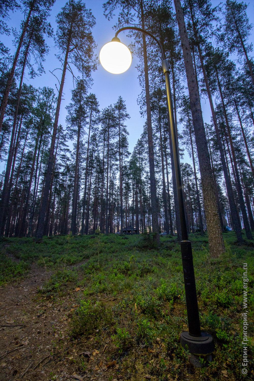 Бесполезный фонарь в белой ночи кемпинга Нейтикоски Лиекса
