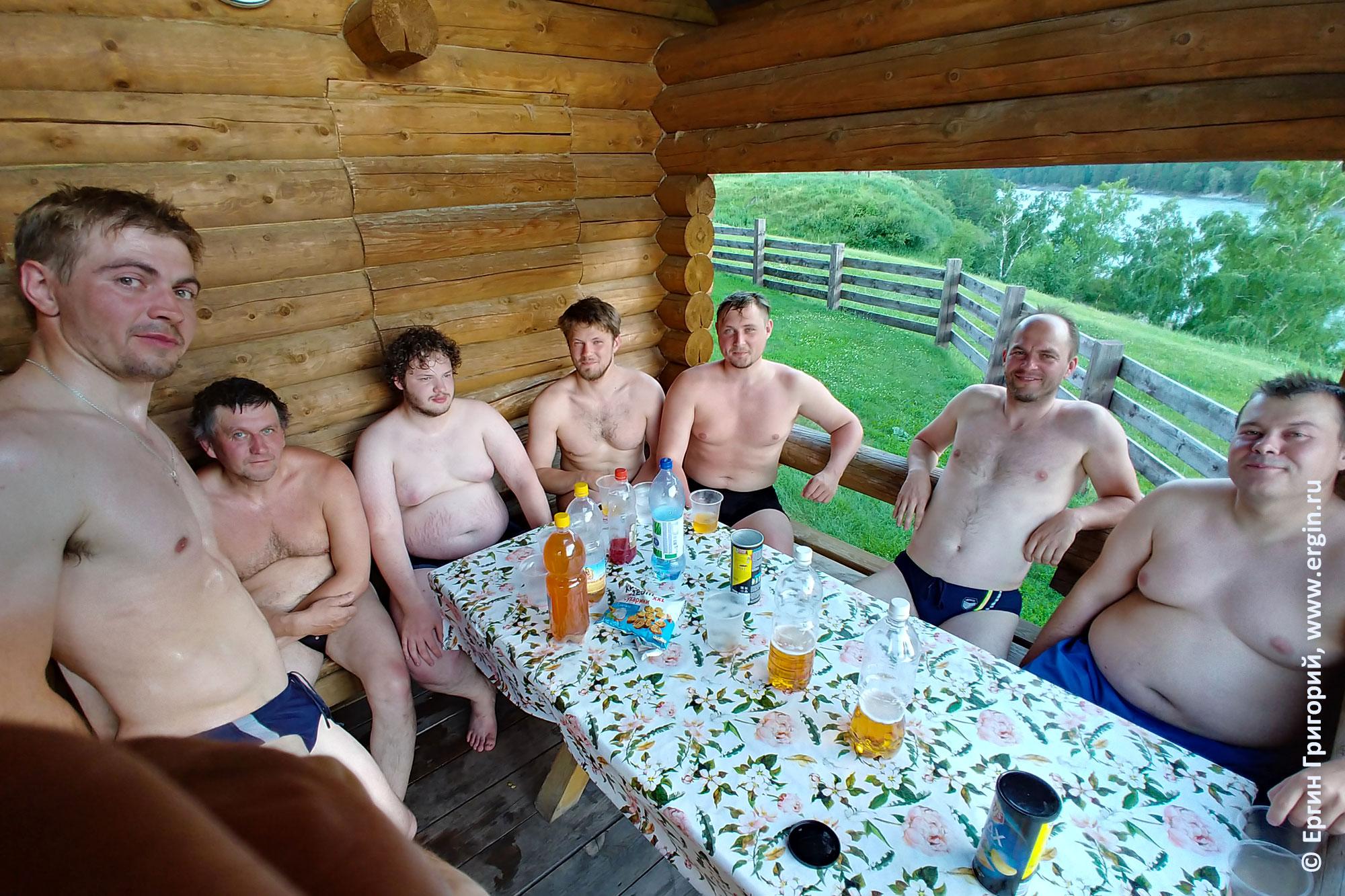 Каякеры в бане на Алтае