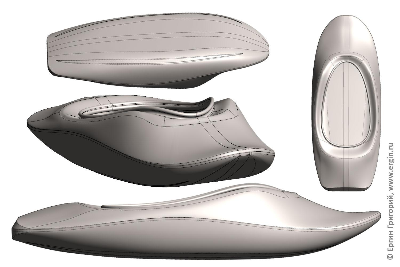 Проект каяка для фристайла на бурной воде 3D модель идея и мечта