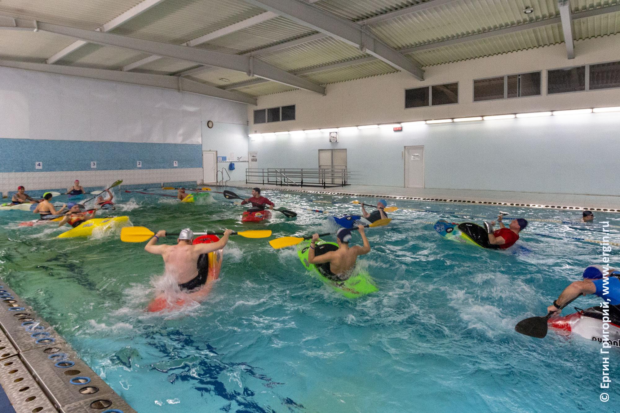 Тренировка по фристайл каякингу на бурной воде с тренером в Лиговском бассейне