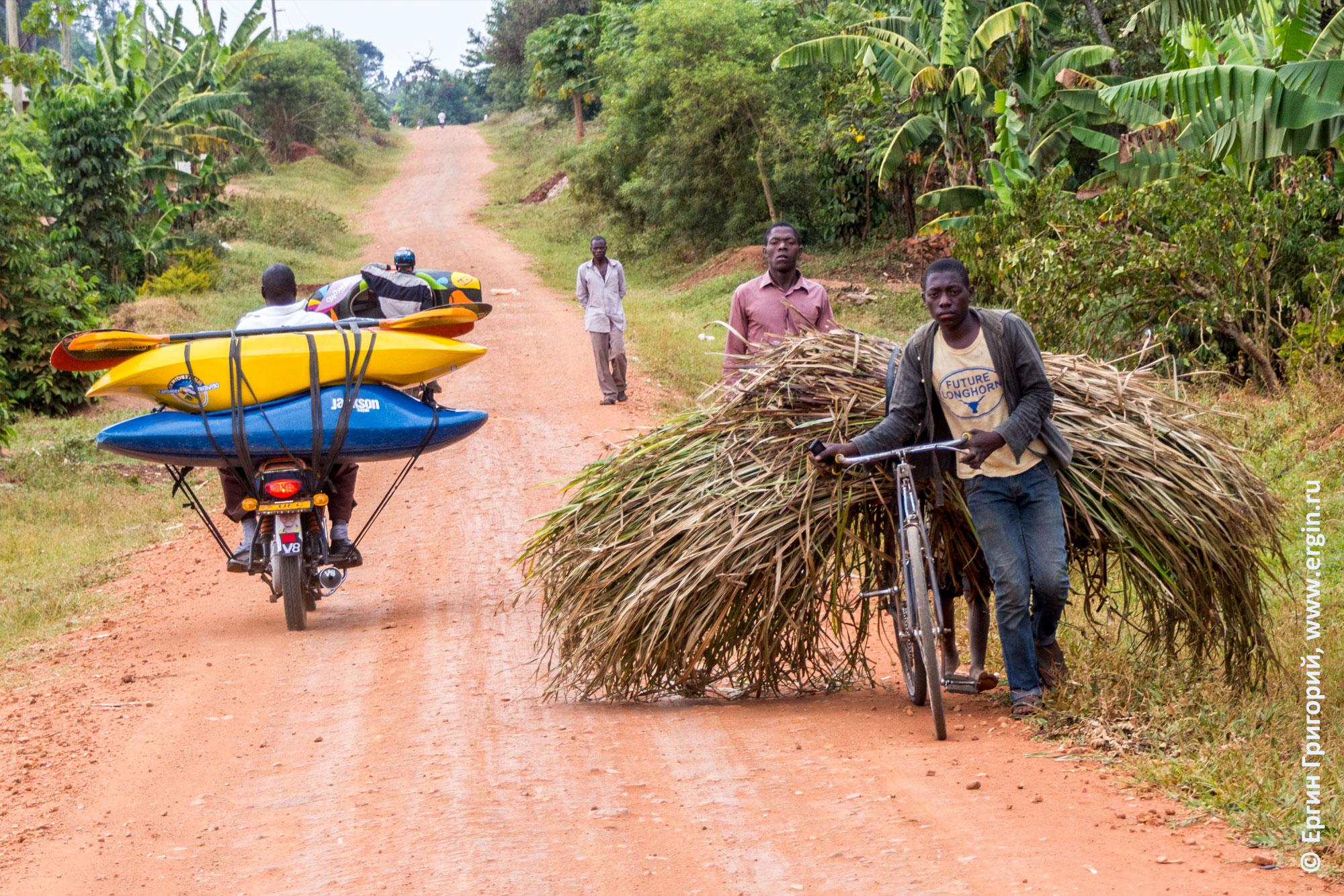 Каяки на мотоциклах бода-бода и сахарный тростник на велосипеде местного жителя