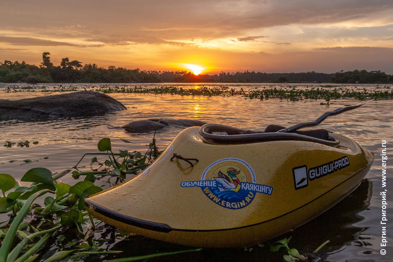 Белый Нил закатное солнце и каяк GuiGui Prod Helixir 2018