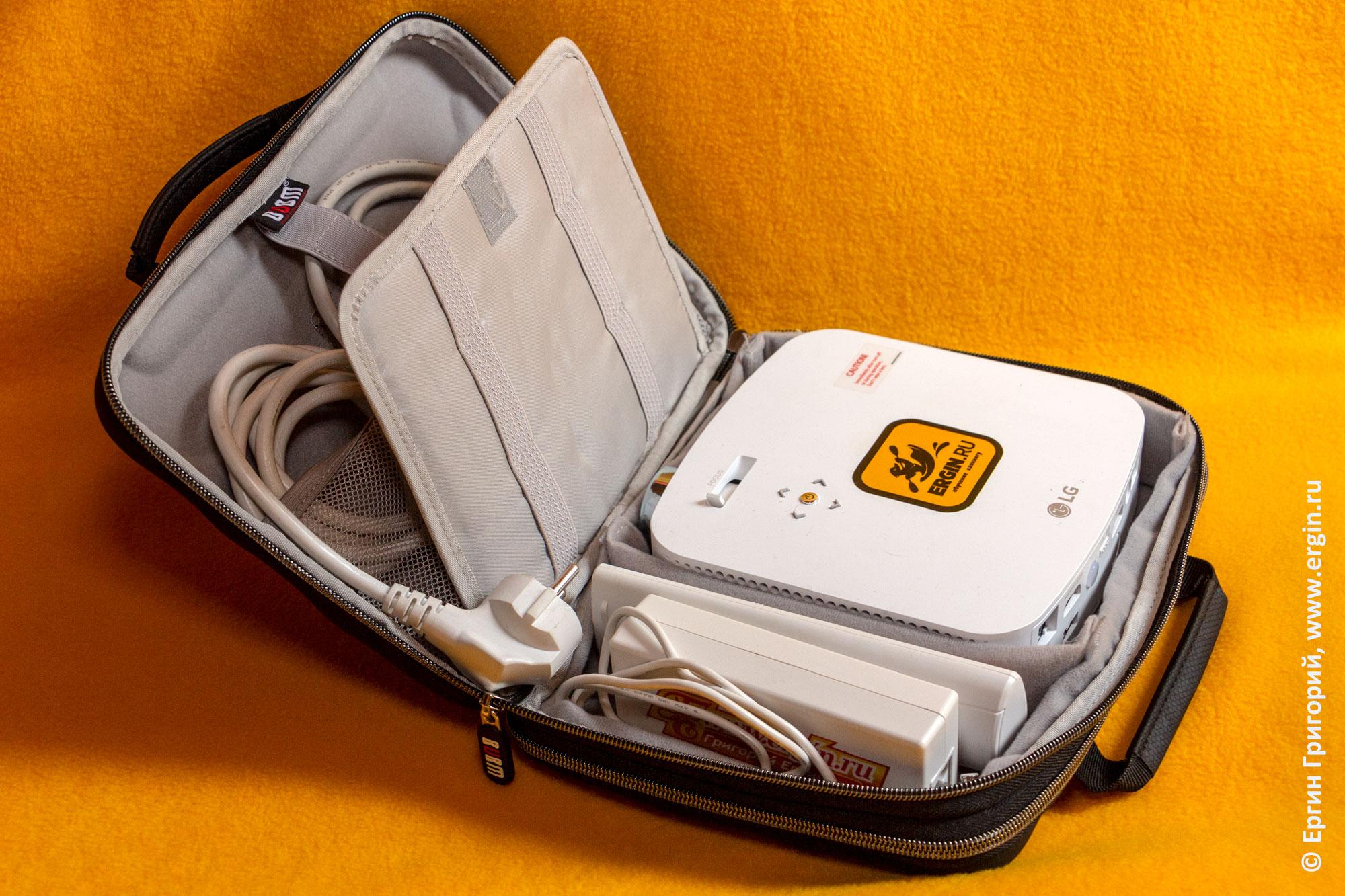 Проектор CineBeam LG PF50KS и его аксессуары размещены в кейсе чемодане футляре