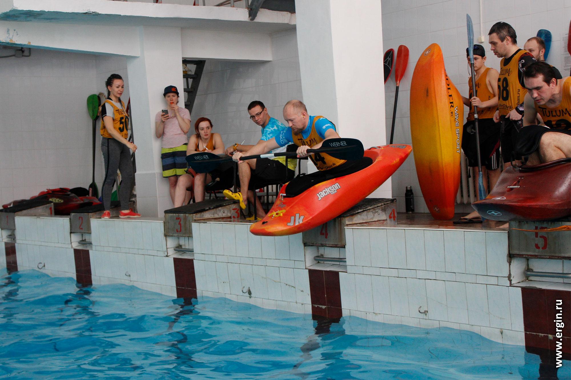 Открытый Чемпионат Пермского края по фристайлу на бурной воде на каяках в бассейне