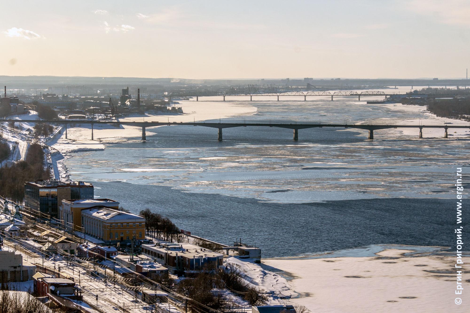 Пермь река Кама со льдом мосты