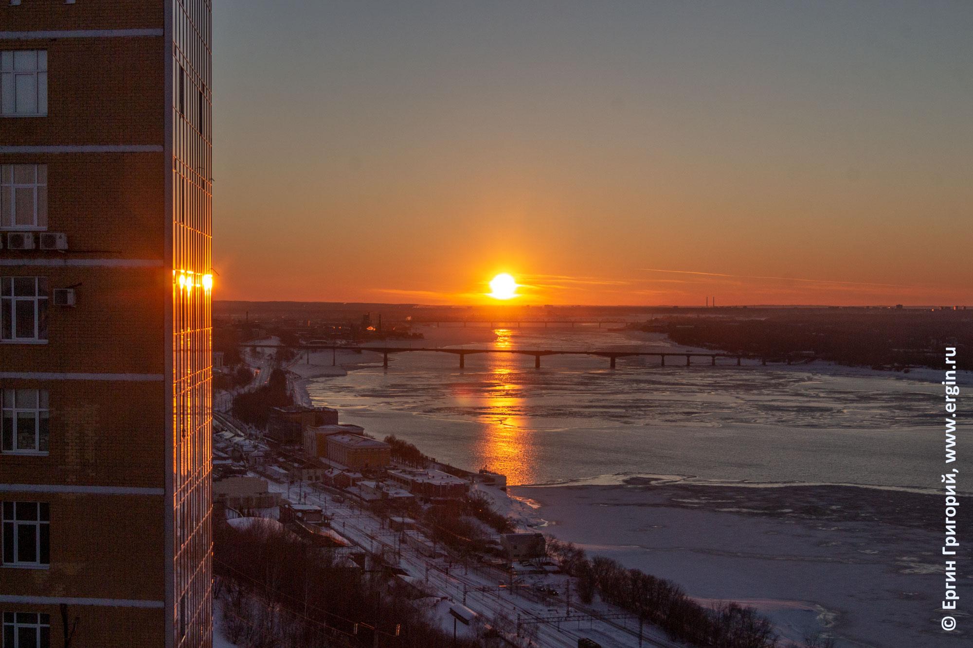 Закат над рекой Камой в Перми