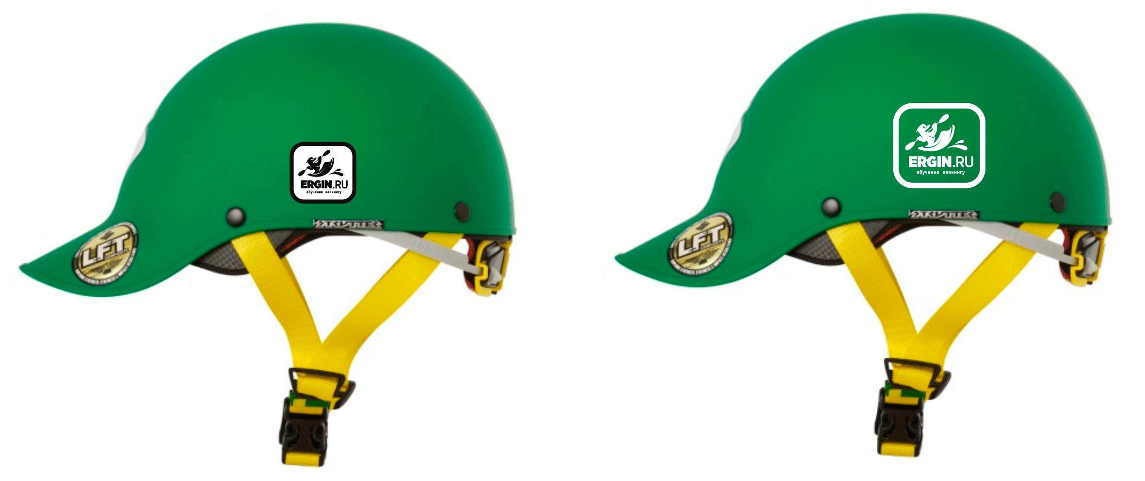 Логотип Обучение каякингу нанесение на каякерский шлем каску